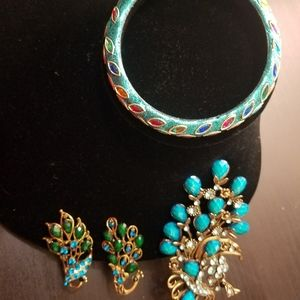 Peacock clip and bangle